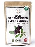 100% Certified Organic Dried Elderberries - 1 lb Bulk European Whole Dry Black Elderberry - USDA Certified Organic, Raw, Vegan, Sambucus Nigra L. - Make Natural Elderberry Syrup/Tea