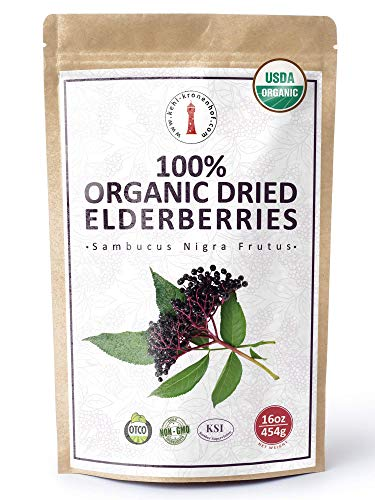 100% Certified Organic Dried Elderberries - 1 lb Bulk European Whole Dry Black Elderberry - USDA Certified Organic, Raw, Vegan, Sambucus Nigra L. - Make Natural Elderberry Syrup/Tea