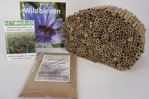 aktiongruen MEGA Pack Bambusröhrchen Insektenhotel Bastelsachen ca. 300 Niströhren 12cm mit 300 g Lehmpulver & mehr!