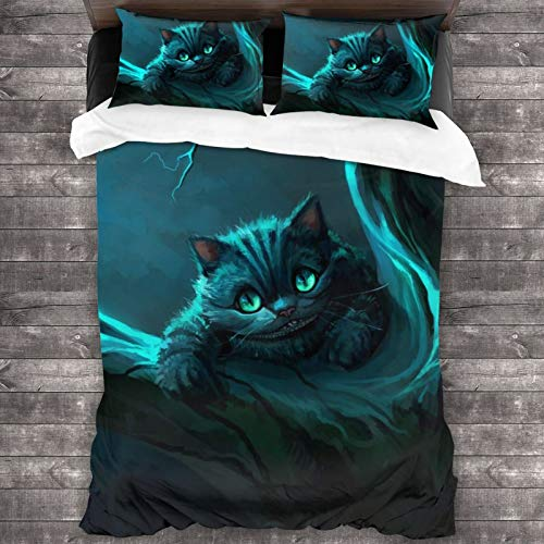 Duvet Cover Set Magic-Alice in Wonderland The Cheshire-Cat Decorative 3 Piece Bedding Set with 2 Pillow Shams