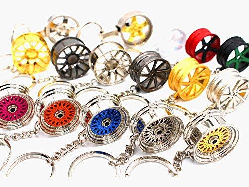boost-key.com Luxus Schlüsselanhänger aus Metall Felge Auto BBS Vossen Chrom Anhänger Schlüsselring Lederband Leder von VmG-Store (BBS Silber)