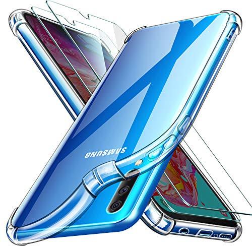 Leathlux Funda Samsung Galaxy A70 + [2 Pack] Cristal Templado Protector de Pantalla, Ultra Fina Silicona Transparente TPU Carcasa Protector Airbag Anti-Choque Anti-arañazos Case Cover para Samsung A70