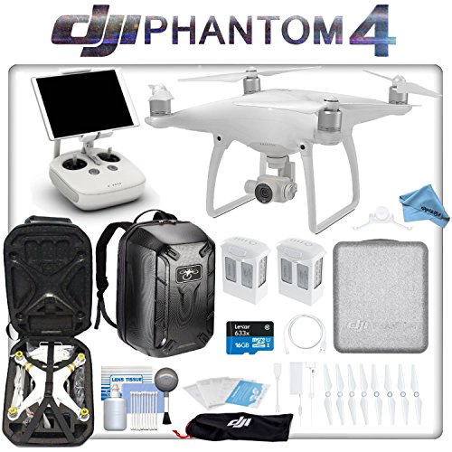 DJI Phantom 4 Quadcopter Backpack Bundle: Includes 2 Phantom 4 Batteries, Soft Padded Backpack, 16GB MicroSD Card and more...