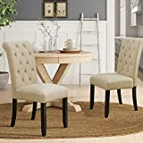 Furmax Dining Chairs Luxurious Tufted Fabric Parson Chair Side Chair with Solid Wood Legs Tall Back Set of 2 (Beige)