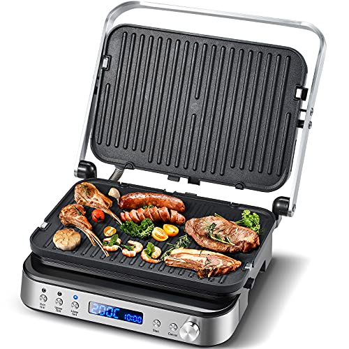 AMZCHEF 2000W Parrilla Eléctrica/Sandwichera/Máquina de Panini con Obertura 180º Parrilla de mesa,2 Placas Desmontables Antiadherentes para Tostadas,Verduras y Carne,Regulador de temperatura LED