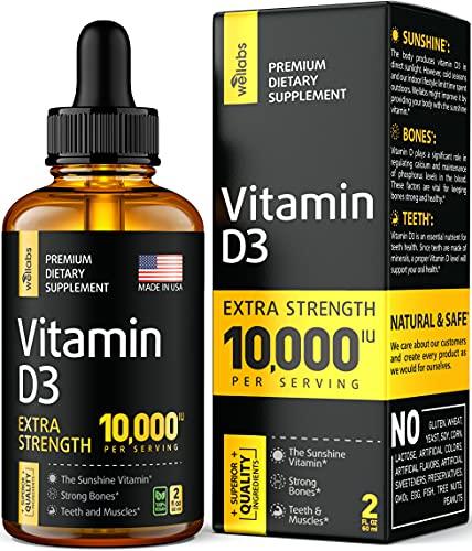 Vitamin D3 Drops - Extra Strength Vitamin D3 10000 IU - Made in The USA - High Dose Vitamin D3 - Premium & Natural Vitamin D3 - The Sunshine D3 Vitamin Supplement - Organic & Raw Vitamin D