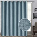 Rose Home Fashion 100% Blackout Curtains, Sliding Door Curtains for Living Room Linen Textured Patio Door Curtains Drapes Extra Wide Grommet Curtain Panel-1 Panel (100x84 Tealblue)