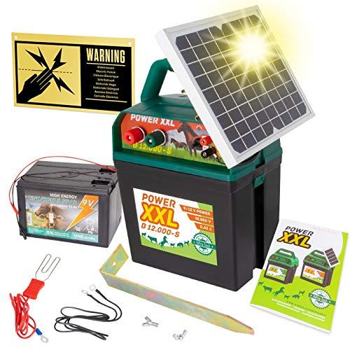 VOSS Power XXL B 12.000-S, 10.800V Starkes Solar-Weidezaungerät 9V 12V, inkl. 55Ah Batterie und Warnschild, Hocheffektives Solarmodul, Für Pferde, Ponys, Hund, Katze, Reiher, Rind, Schwein