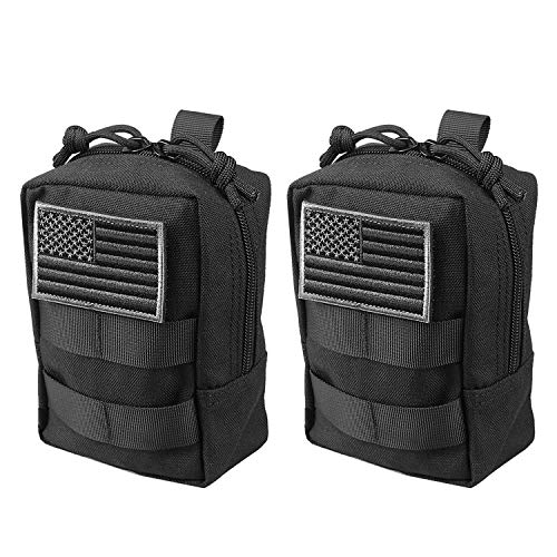 AMYIPO MOLLE Pouch Multi-Purpose Compact Tactical Waist Bags Small Utility Pouch (Black Small Pouch -(2 PCS))