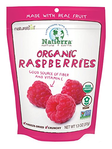 NATIERRA Nature's All Foods Organic Freeze-Dried Raspberries | Non-GMO & Vegan | 1.3 Ounce