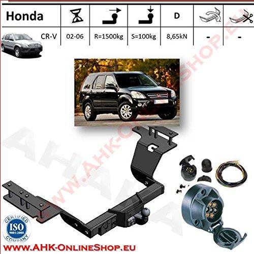 AHK Anhängerkupplung mit Elektrosatz 7 polig für Honda CRV 2002-2006 Anhängevorrichtung Hängevorrichtung - starr, mit angeschraubtem Kugelkopf