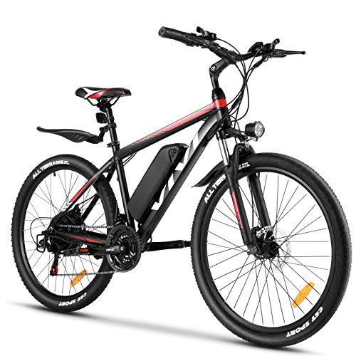 VIVI Bici Elettrica 26/27.5' Bicicletta Elettrica Pedalata Assistita Uomo Mountain Bike Elettrica 250W, Ebike Batteria 36 V/10.4Ah,Shimano a 21 velocità (26 Pollici Rosso)