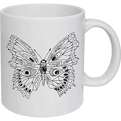 Taza de café, taza de té, diseño de mariposa de cerámica, regalo para mujeres y hombres