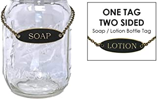 KreaSHen 1 x Mason Jar Soap OR Lotion Dispenser Label Tag (Bronze), (Jar not Included), One Tag Two-Sided, Ideal for Farmhouse, Vintage, Rustic Decor