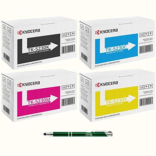 4x TK-5230 Kyocera originele toner Ecosys M5521cdn M5521cdw P5021cdn P5021cdw - incl. Tonerliga stylus balpen Set van 4 kleuren.