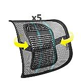 SMAMS Respaldo Lumbar para Silla de Oficina o Coche con Malla Super Tensa y Perlas de Masaje, Corrige la Postura y Alivia el Dolor Lumbar x5