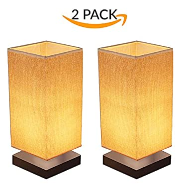 2-Pack Modern Wooden Lamp With Fabric Shade For Bedroom, Living Room, Dresser, Bookcase, Night Stand, Baby Room, College Dorm, Office, Study