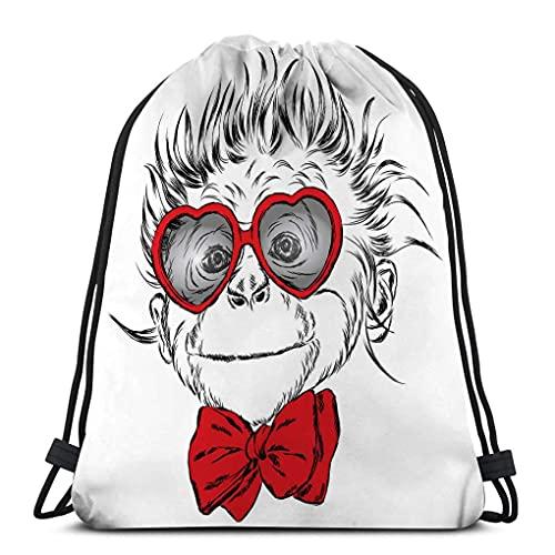 XCNGG Kordelzug Bundle Tasche Sport Rucksack Reisetasche Für Jedermann Affe Brille Krawatte Valentinstag Grußkarte Poster Druck Kleidung Schön