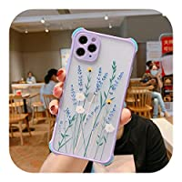 Seggw iPhone 11 Pro X XRXSマックス87 6S PlusSE2020フローラルトランスペアレントレンズプロテクションハードカバー用ファッションフラワーフォンケース-45PR-For iPhone XS