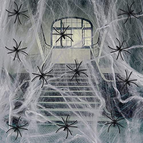 Halloween Spinnennetz Dekorationen, 300g Elastischer Spinnennetz 60 Realistisch Spinnen Halloween Deko Spinnennetz Set Großes Spinnenband für Halloween Party, Tische, Büro, Kellerraum, Tür und Garten