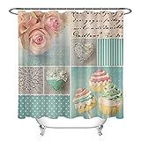 rrrrrr Polyester Gewebe Duschvorhang Zwischenlage romantische Blumen LIEBEN Kuchen Badezimmer Dekor 183 * 183CM