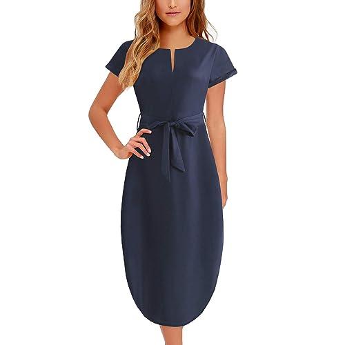 5dfadac3675226 Women s Midi Dresses Side Slit Floral Print Loose Casual Long Dress with  Belt BK318