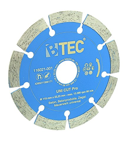 Diamant-trennscheibe BTEC UNI CUT Pro Trennscheibe 115mm zum Schneiden von Beton, Ziegel, Mauerwerk und weiteren Materialien