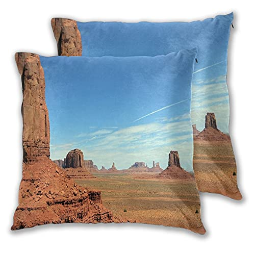 VINISATH Set de 2 Funda de Cojín 45x45cm American Monument Valley Sandstone Hills Desierto rocoso Paisaje del desierto occidental Fundas de Almohada para Cojines Decorativos para Sofá Cama Coche Hogar