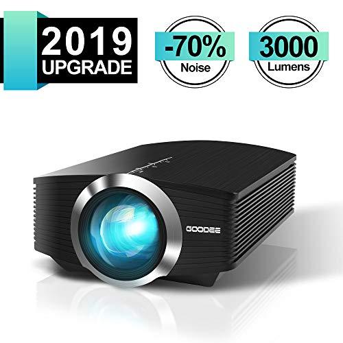 Mini projecteur, GooDee Projecteur LED 3000 lumens Compatible avec Fire TV Stick HDMI VGA TF AV et USB pour Home cinéma, Film PC, Ordinateur Portable PS4 Xbox. MEHRWEG