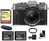 FUJIFILM X-T30 Mirrorless Digital Camera (with XF 18-55mm Lens Spare Battery Bundle, Dark Silver)