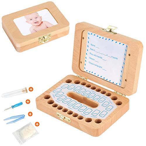 Luchild Denti box Scatola dei Ricordi per Denti da Latte dei Bambini(Versione Italiana) Scatoletta di Memoria Scatolina Porta Dentini
