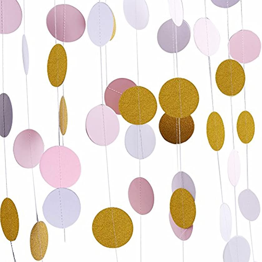 Threemart Gold Party Supplies Gold Pink Glitter Grand Paper Dots Hanging for Bachelorette,Wedding, Birthday Party Decoration-4 Pack