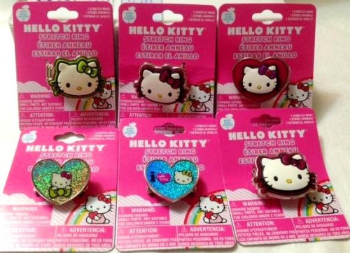 Hello Kitty Stretch Ring Assorted x 6 Individual Pack