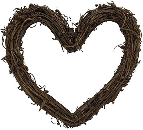Shimr Grapevine Wreath Twigs Wreath DIY Vine Wreath for Rustic Christmas Wreath Door Garland Home Wedding Party Decor Gift Hanging Decor Wreaths Supplies(Heart-Shaped,12 inch,3-Park)
