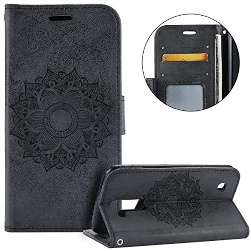 Surakey Compatible Pour Coque LG K10 Etui PU Cuir Housse Portefeuille Porte-Cartes Support Mandala Motif Flip Case Clapet Wallet Case rabat et Folio Fermeture Magnétique,Noir