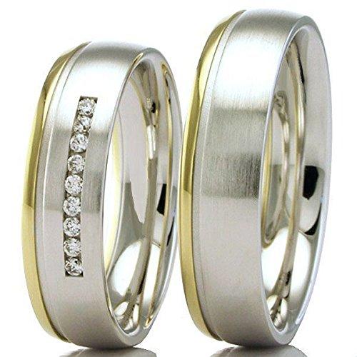 Eheringe 333/- Weißgold Gelbgold 66-42050-060 - Honeymoon Solid IV