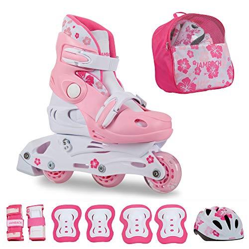 JAMBACH Kinder Inliner Inline Skates für Anfänger verstellbar Set Triskates mit Schutzset Helm Rucksack Rollschuhe Mädchen Jungen (XS (26-29), rosa)