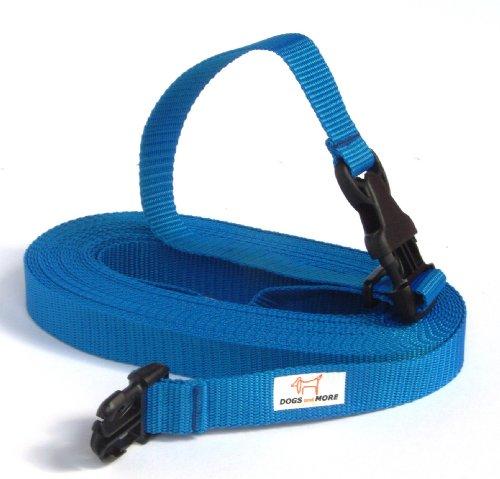 DOGS and MORE - Verlängerung für die Basis-Schleppleine mit LÖSBARER Handschlaufe - Verlängerung 10 Meter (Blau; 25 mm breit) / Suchleine/Feldleine