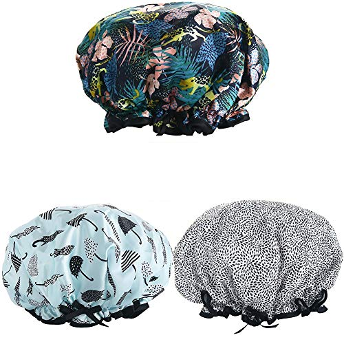 Shower Caps, 3 PACK Bath Cap for Women Waterproof & Adjustable Double Layered Shower Cap (Multi-colored8)