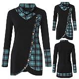 Seeyeah Blouse Plaid Turtleneck Sweatshirt Tops Tartan Panel Long Sleeve Asymmetrical T-Shirt for Women Green