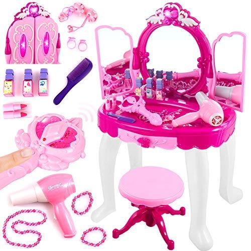 Kinderplay Toalette con Specchio per Bambina - Asciugacapelli Funziona Come se Fosse Reale, Toilette Trucco con Sgabello Bambina, Ingresso MP3, con Accessori, KP8846