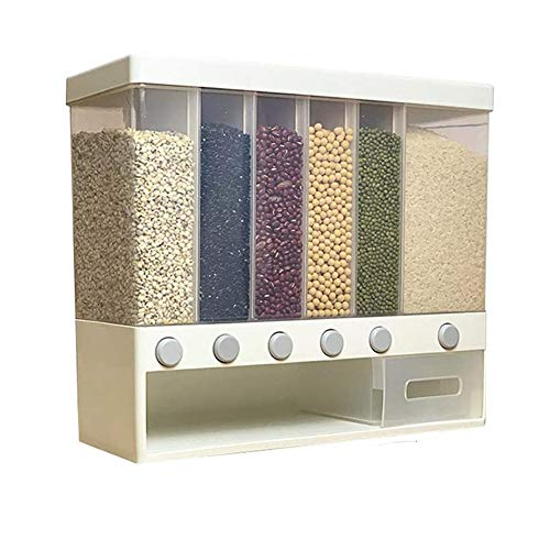 XHSP Dry Food Dispenser,Wall Mounted Cereal Dispenser with Lids, Space Saving Plastic Storage Containers for Convenient Storage of Rice Nuts Beans Candy Cereals and Free Control of Cereal Output