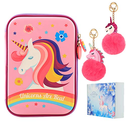 HH Family Llama Unicorn Pencil Case for Girls Hardtop Zipper Pouch with Compartments and 2 Pcs Fur Ball Key Chains (Cute Unicorn E)