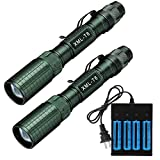 WolfonFire 2PCS 8000 Lumen 18650 Flashlight with 4PCS 3.7V High Capacity Battery and 4 Bay Charger, Ultra Bright Adjustable Focus Tactical Flash light Torch 5 Modes for Camping, Hiking, Outdoor