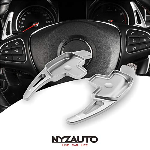 NYZAUTO Aluminum-Alloy Steering Wheel Paddle Shifter Extension Fit For Mercedes Benz A B C CLA CLS E G GL GLA GLC GLE GLS Metris S SL SLC Class(Model B-Silver)