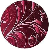 W-WEE Alfombra Redonda Alfombra, marrón, Arte Moderno japonés Abstracción de Flores Pétalos Puntos Remolinos Planta gráfica, Granate Marrón Oscuro