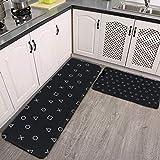"Midetoy Anti Fatigue Kitchen Mat Set of 2 Black Gaming Gamer Playstation Controller Symbols Standing Desk Mat Floor Mats for House,Sink,Office,Kitchen 17.7""x59""+17.7""x29"""
