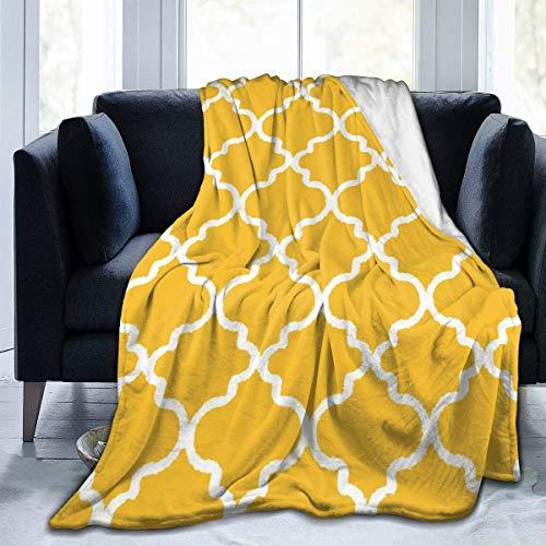 AEMAPE Manta Estampada Amarilla contemporánea Throw Ligero Super Soft Micro Fleece Throw Mantas Fit Sofá Cama Sala de Estar Sofá Silla 50x40in