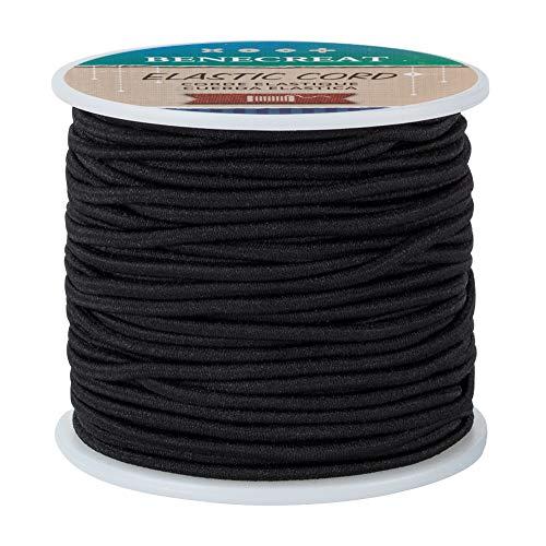 BENECREAT 2.5mm schwarze elastische Schnur 35m/38 Yard Stretchfaden Perlenschnur Stoff Crafting String Rope für DIY Crafts Bracelets Halsketten
