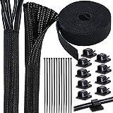 Cieex Organizador Cables Funda Cables Set Trenzada Recoge Cables Mantenga los cables organizados con Bridas clips cable adhesivo para Office y Casa administración de cables Ø15mm-Ø27mm